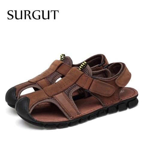 SURGUT Brand Classic Men Genuine Leather Soft Sandals Comfortable Sandals High-Quality Men Roman Summer Men Shoes Size 38~45 Multan