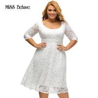 2017 lato i jesień Nowy Elegancki Duży Rozmiar Sukienki Koronkowe biały Floral Koronki Rękaw Fit flare Krzywego Sukienka Vestidos Mujer3XL