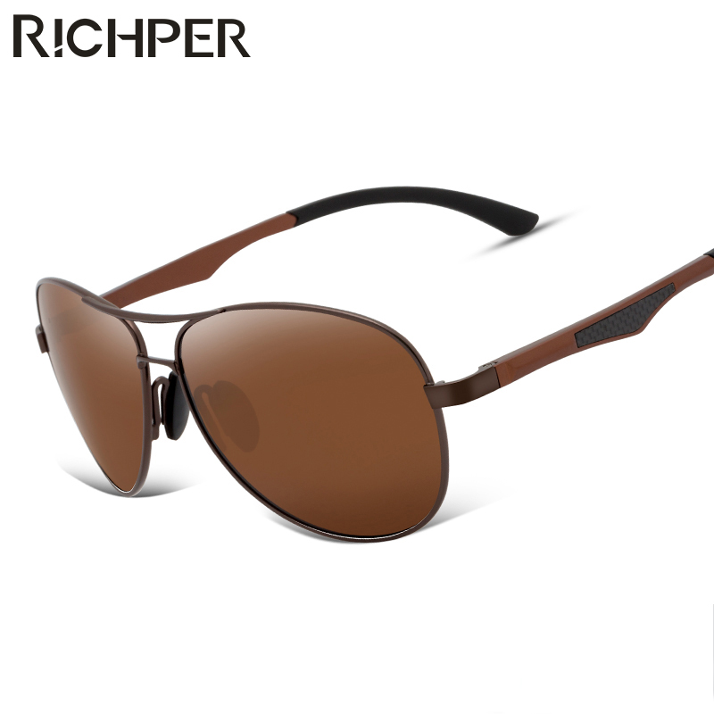 RICHPER Pilot Polarized Sunglasses Men Driving Glasses Brand Designer Vintage Metal Frame Aviator Eyeglasses oculos gafas D1031