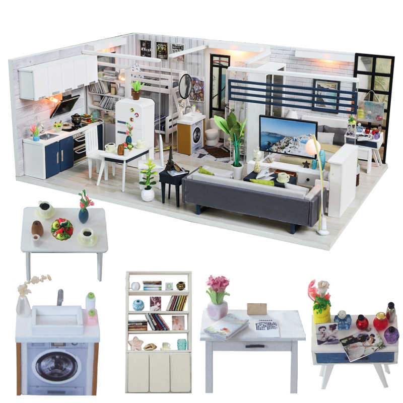 Cutebee DIY House Miniature with Furniture LED Music Dust Cover Model Building Blocks Toys for Children Casa De Boneca  J18