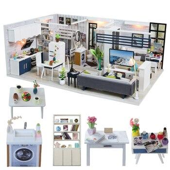 Cutebee DIY Casa miniatura con muebles LED música polvo cubierta modelo bloques De construcción juguetes para niños Casa De Boneca J18