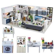 Cutebee DIY Haus Miniatur mit Möbel LED Musik Staub Abdeckung Modell Bausteine Spielzeug für Kinder Casa De Boneca J18