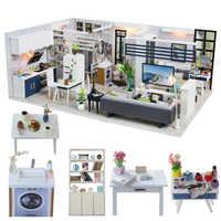 Cutebee diy casa em miniatura com móveis led música poeira capa modelo blocos de construção brinquedos para crianças casa de boneca j18