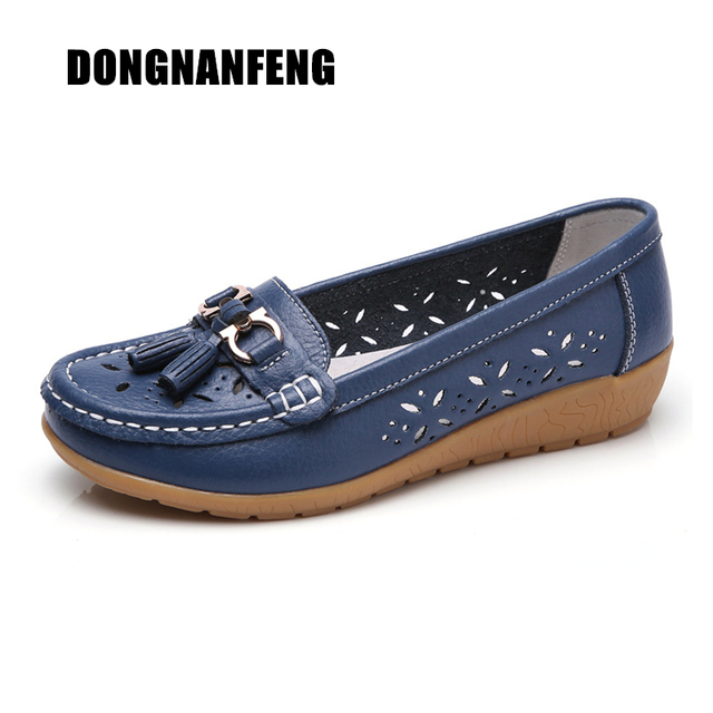 59a3e2e62e3 DONGNANFENG Women Casual Mother Ladies Female Flats Shoes Hollow 2018  Loafers Cow Genuine Leather Summer Pigskin 35-41 JTS-5989