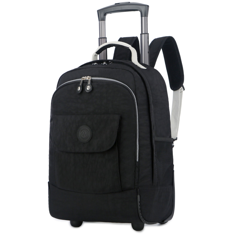18 Inch Nylon Waterproof School Bag Luggage with Wheels Multifunction Trolley Carry on Suitcase Travel Rolling Trolley Backpack