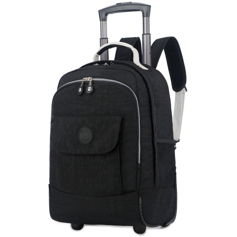 Bagage en Nylon imperméable de sac d'école de 18 pouces avec le chariot multifonctionnel de roues continuent le sac à dos de chariot de roulement de voyage de valise