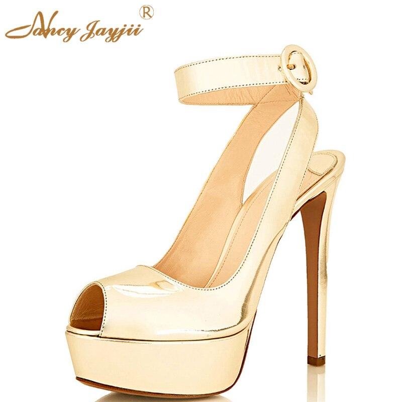 7da42f2fd14a5 Gold Black Suede Ankle Strap Peep Toe 3cm Platform Pumps 14cm High Heels  Sandals Shoes For Woman