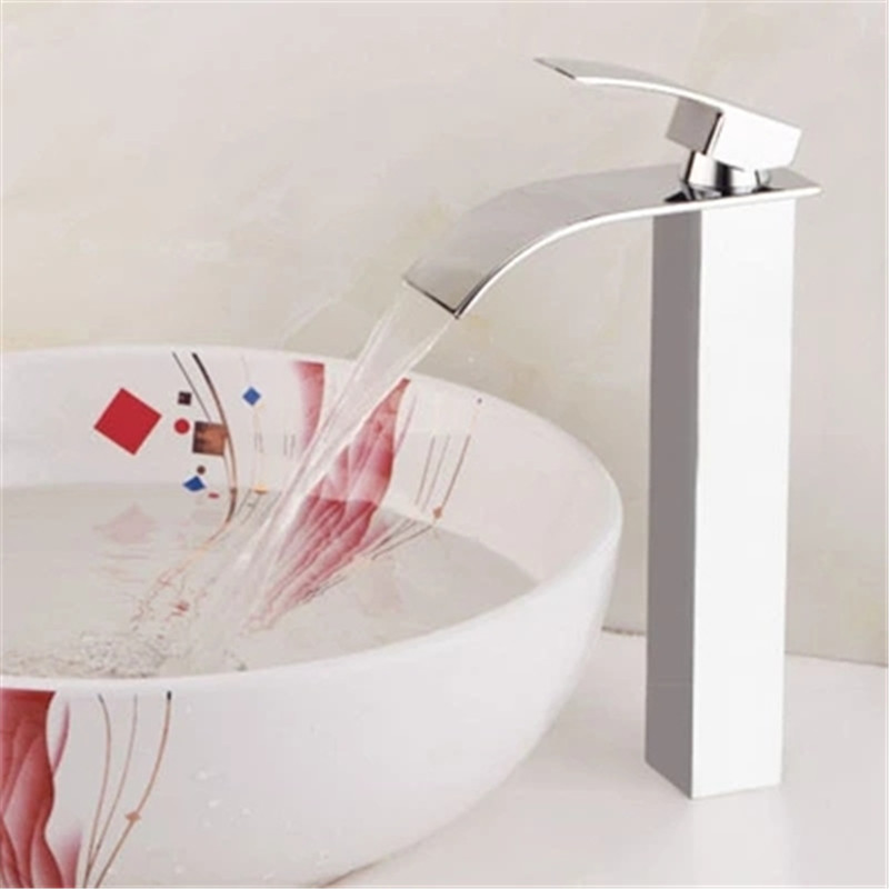 Basin Faucet Brass Nickel Brushed Waterfall Bathroom Sink Mixer Tap Single Handle Lavatory Deck Mounted Hot and Cold Water CraneBasin Faucet Brass Nickel Brushed Waterfall Bathroom Sink Mixer Tap Single Handle Lavatory Deck Mounted Hot and Cold Water Crane