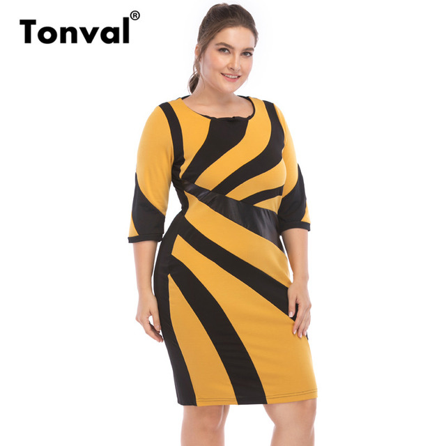 971b393836fb0 US $17.99 40% OFF|Tonval Office Style Plus Size Elegant 6XL Pencil Dress  Work Women Leather Patchwork Yellow Dress Big Size 5XL Dresses-in Dresses  ...