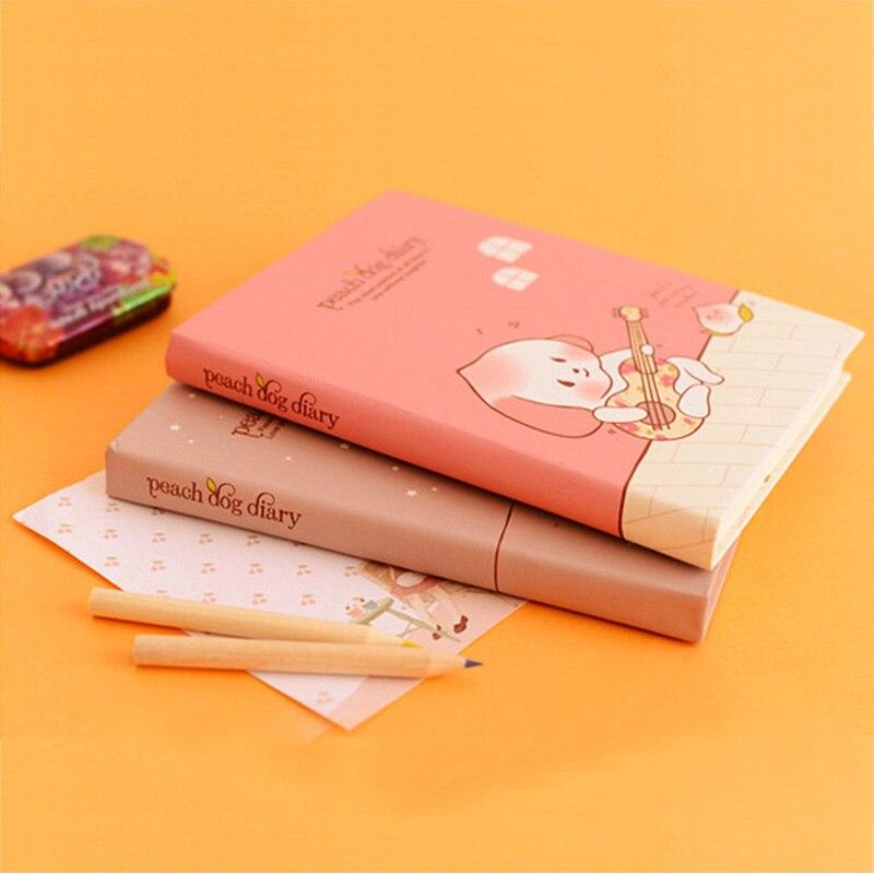 Escola Caderno de papel Bonito diário 120 folhas de Pêssego Cão Rígido Caderno Escritório Escola Suprimentos Presente