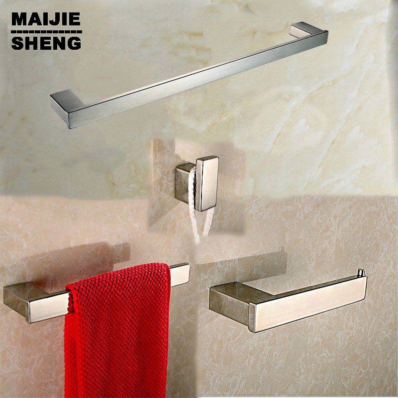 Stainless steel 304 bathroom accessories set 4 Piece-Single Towel Bar Towel Ring and Tissue Holder Polished Finished robe hook leyden towel bar towel ring robe hook toilet paper holder wall mounted bath hardware sets stainless steel bathroom accessories