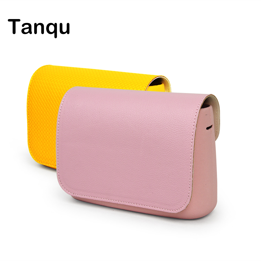 TANQU New Woven Lichee Pattern PU Leather Flap Cover lid Clamshell with Magnetic lock Snap Fastener for Obag O Pocket O bag new colorful cartoon floral insert lining for o chic ochic canvas waterproof inner pocket for obag women handbag