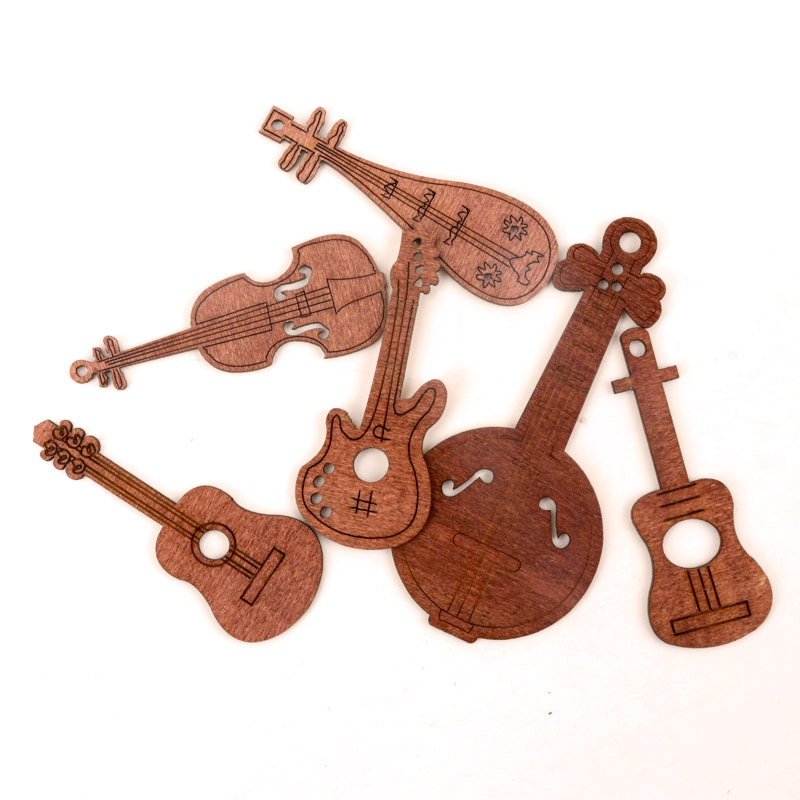 Mix Musical Instrument Guitar Violin Wood Ornaments Handmade Wooden Crafts Accessory Home Decoration DIY 58-80mm 24pcs