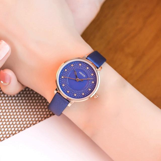 Kezzi Women Quartz watches Fashion Luxury Life Waterproof Leather Strap Wristwatch Ladies Rhinestone Dress Watch montre femme