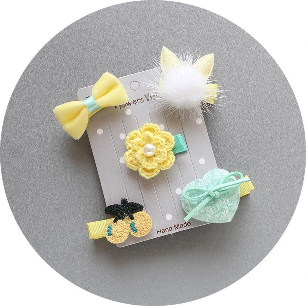 5Pcs Kids Infant Hairpin Baby Girl Bow Flower Barrettes Star Hair Clip Set Orquillas Pelo Infantil Girl   Headwear   Baby Turbant