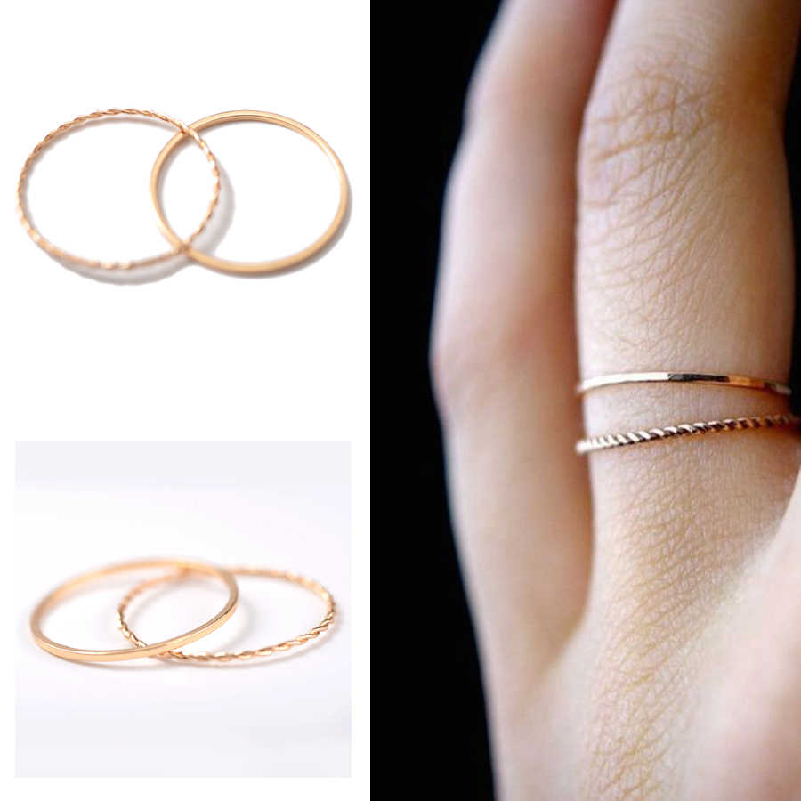 ZMZY Women's Ring Gold Color Twist Wedding Engagement Love Ring Jewelry Gift Stackable Rings Boho Fashion Minimalist Ring Finger