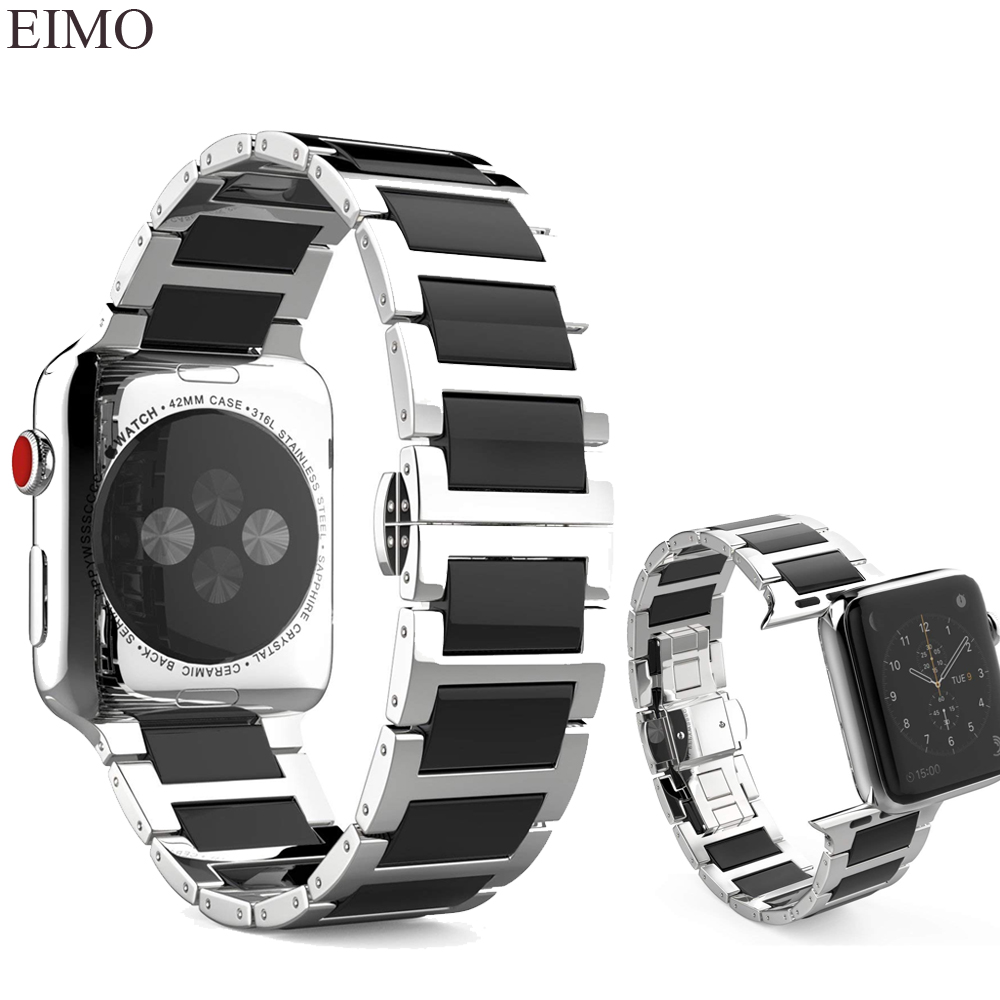 EIMO Ceramic Strap for Apple Watch band 38mm 42mm Bracelet Stainless Steel link Bracelet Wrist Watchband for Iwatch Series 3 2 1