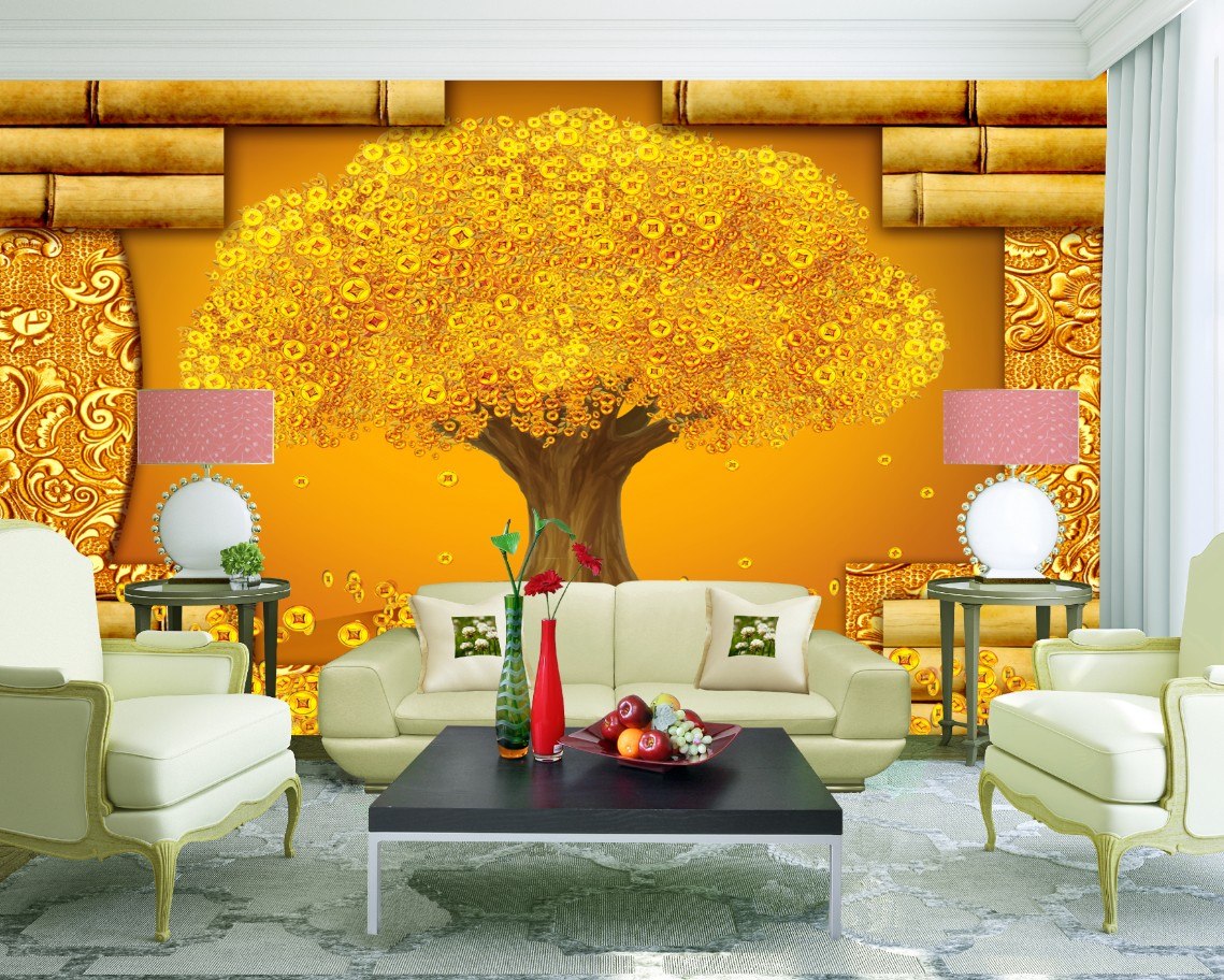 Rich goldern tree fortune diy 3d wallpaper wall mural for Diy photo wall mural