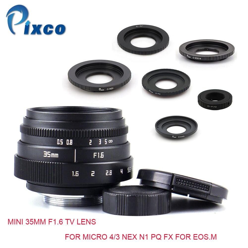 Pixco Mini 35mm F1.6 APS-C Télévision TV Lentille + C Monture adaptateur Pour Micro 4/3 Nex N1 PQ FX Pour EOS. M pour Olympus OM-DE-M10 II