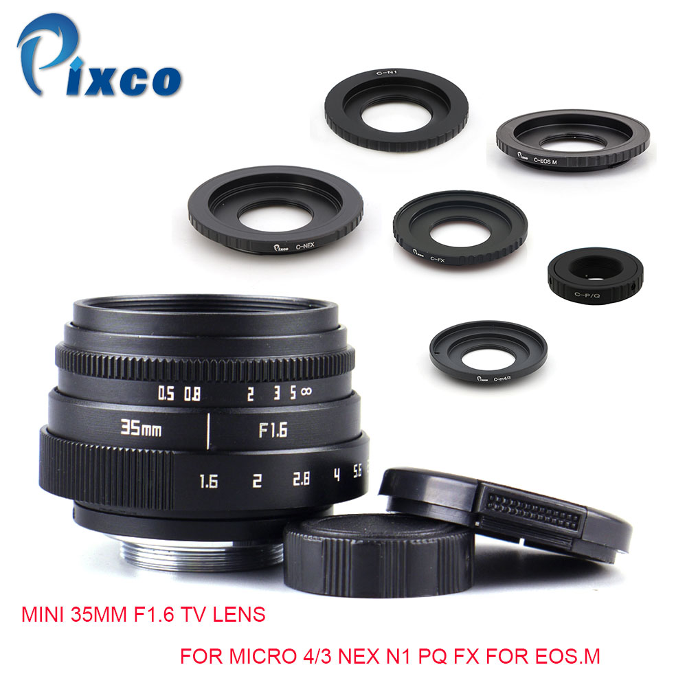 Pixco Mini 35mm F1.6 APS-C Television TV Lens+C Mount Lens adapter For Micro 4/3 Nex N1 PQ FX For EOS.M for Olympus OM-DE-M10 II new green circle lens 35mm upgraded style manual iris lens for nex m n1 pq fuji nikon ol ympus with cleaning pen pixco lens bag