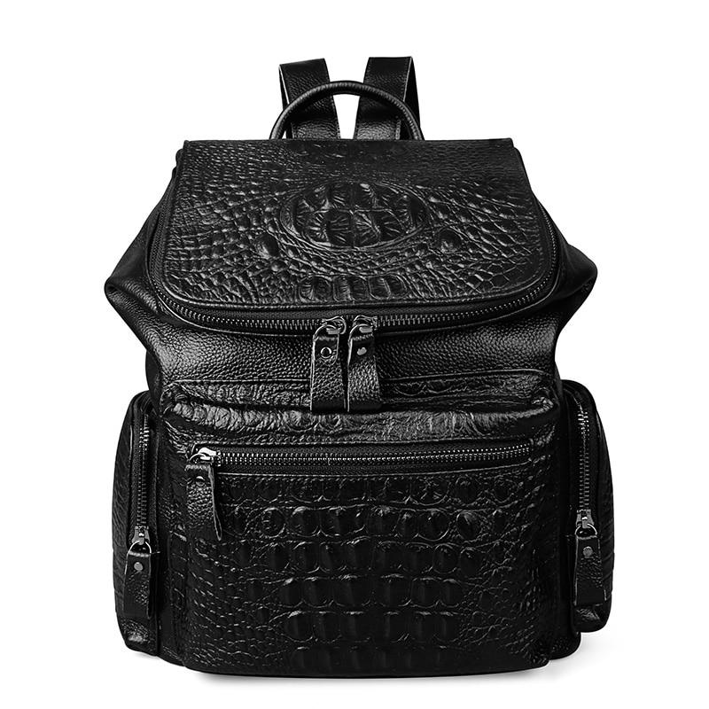 2017 NEW Men Genuine Leather Backpack High Quality Travel Rucksack School Book Bag Laptop Business bagpack mochila Shoulder Bag