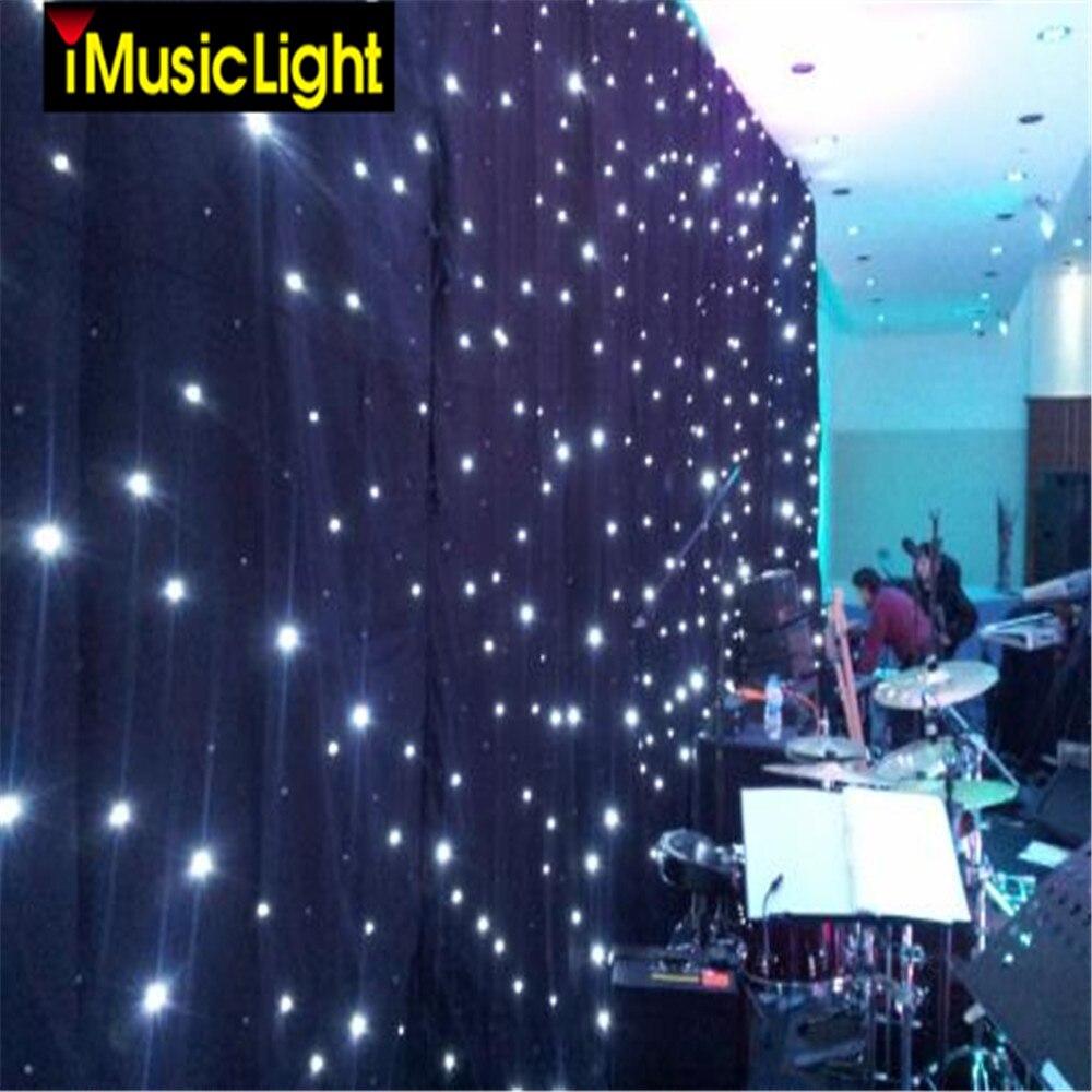 4 m X 8 m LEVOU Estrela Pano de fundo a luz das estrelas cortina LED Stage Fundo LED Leds Brancos + Pano Preto para DJ Trocadilho, palco Do Casamento