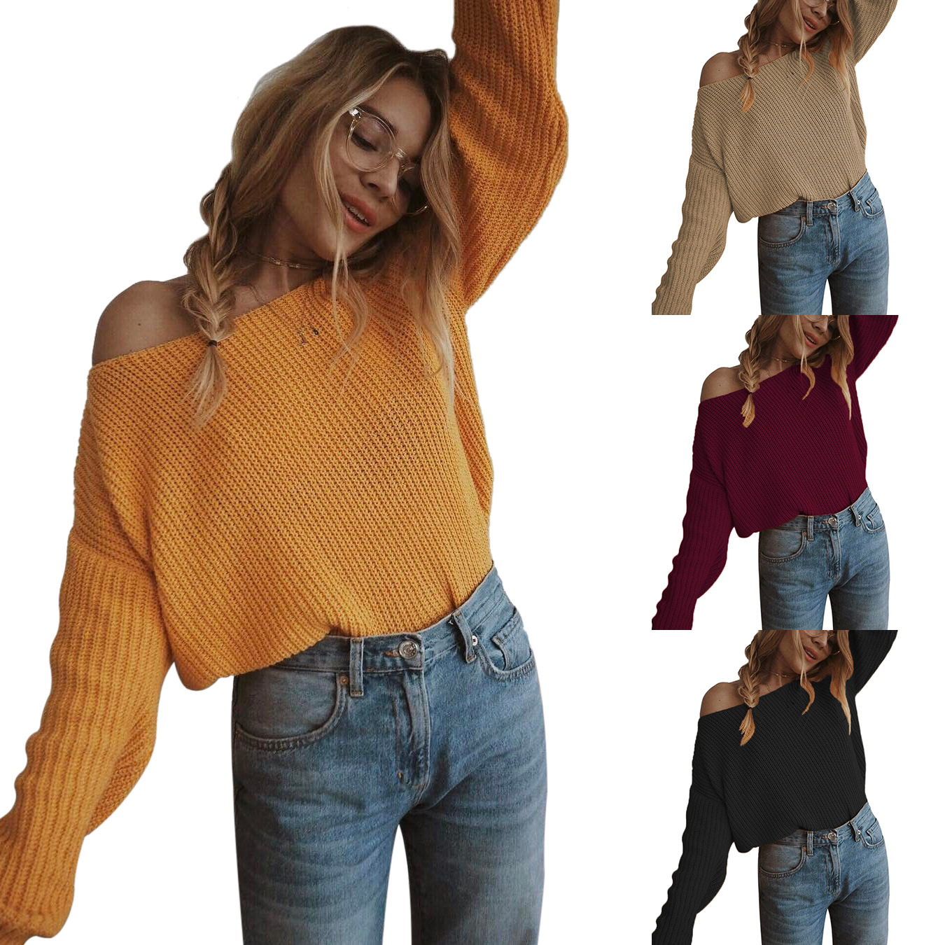 Oversized Sweater Pullover Jumpers Long-Sleeve Loose Off-Shoulder Femme Plus-Size Women