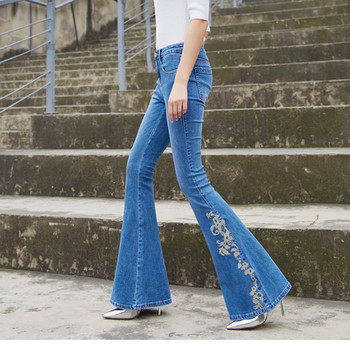Free Shipping 2019 New Fashion Long Jeans Pants For Women Flare Trousers Plus Size 25-30 Embroidery Denim Autumn Stretch Jeans цена 2017