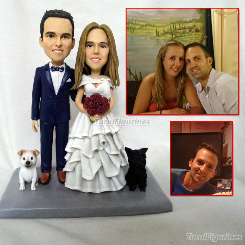 wedding cake topper figurines personalized with pet dog and bride flowers wedding gifts for bride groom girlfriend present gifts