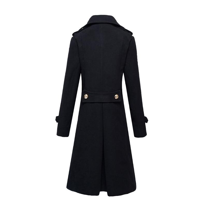 Nieuwe winter dikke gewatteerde mannen wol blends lange jas jas double breasted slim fit parka erwt jassen mode jassen-in Wol en mengsels van Mannenkleding op  Groep 3