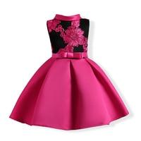 Stile europeo Ricamato Fiore Principessa Abiti Da Sposa Formale Party Girl Birthday Dress Principessa Ball Gown Bambini Vestido