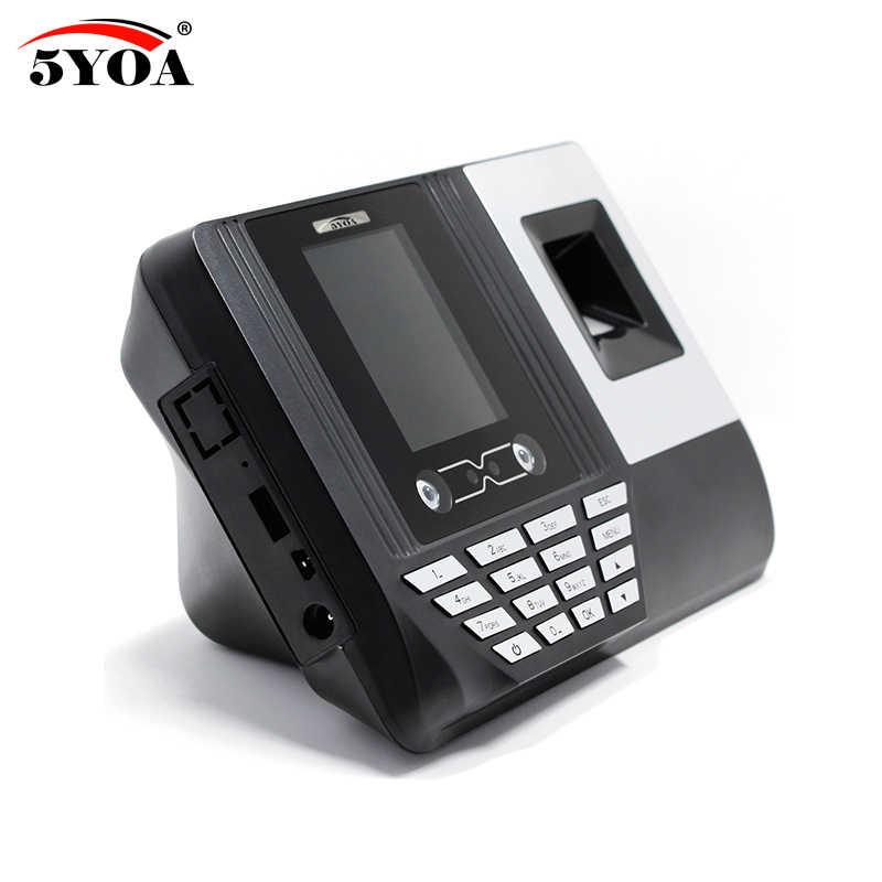 البيومترية بصمة وقت الحضور مسجل على مدار الساعة الرقمية الالكترونية الموظف الإنجليزية قارئ آلة USB RFID بطاقة الهوية
