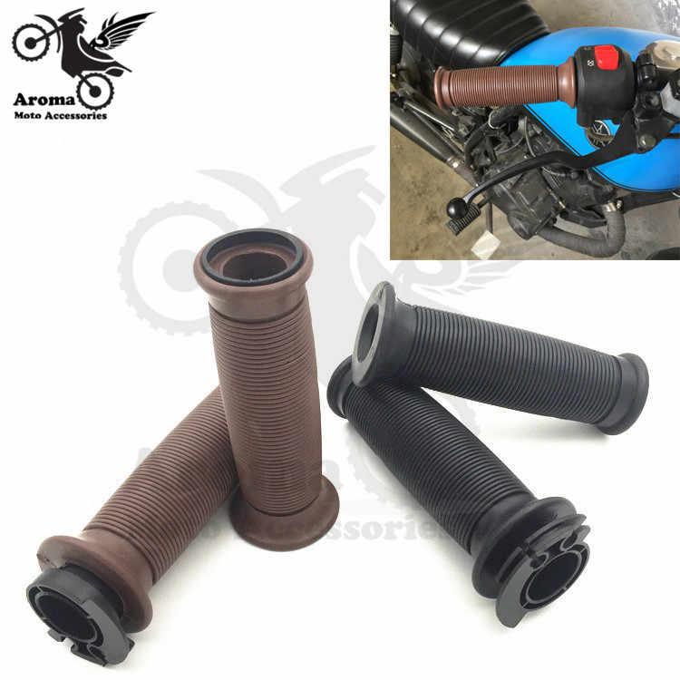 Черная коричневая винтажная рукоятка для скутера 22 мм moto girp для harley yamaha honda CG125 универсальная Резина Ретро мото rcycle руль