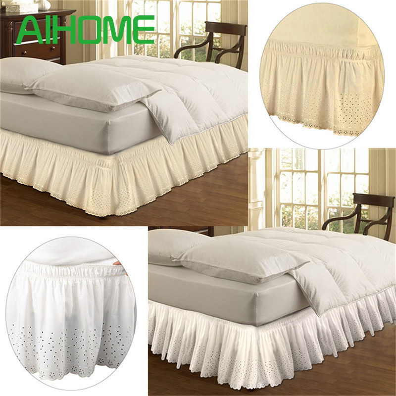 Free Shipping Lace Princess Without Bed Surface Elastic Band Bed Skirt Queen Size 37cm Height Bedspread Embroider Bed Skirt