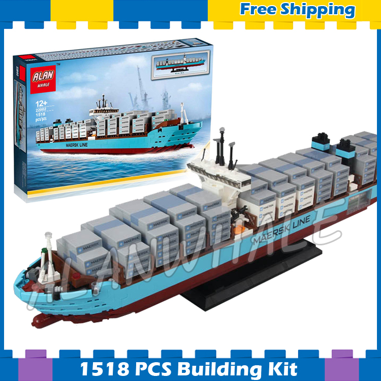 1518pcs Creator Expert Maersk Line Triple-E Freighter Cargo Ship 22002 Model Building Blocks Gifts sets Compatible With lego 1234pcs creator maersk trains freight cargo locomotive 21006 classical diy model building kit blocks toys compatible with lego