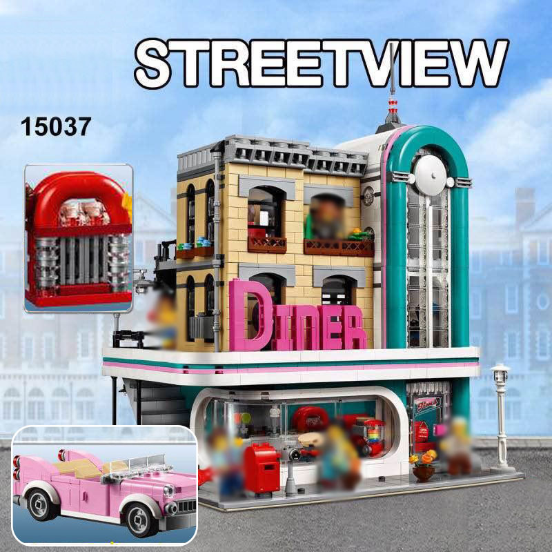 lepin 15037 Streetview Downtown Diner Set Compatible LegoING 10260 Model Building Kits Blocks Toys Bricks Gift for Block Fans lepin 22001 pirate ship imperial warships model building block briks toys gift 1717pcs compatible legoed 10210