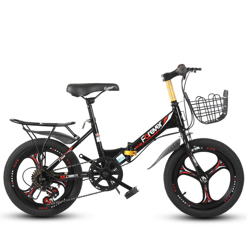 16inch Kids' Bike Single Speed And 6 Variable Speed Children's Mountain Bike Foldable Student Bicycle Gift For Boys And Girls