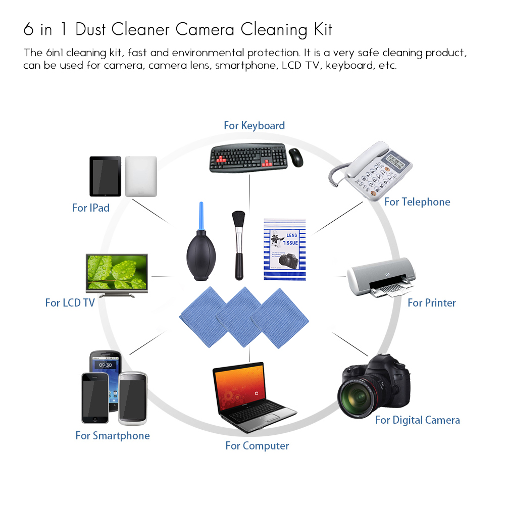 Image 3 - 6 in 1 Dust Cleaner Camera Cleaning Kit Lens Brush+ Cleaning Cloth+ Air Blower for Canon Nikon Sony DSLR ILDC Camera and Lens-in Photo Studio Accessories from Consumer Electronics