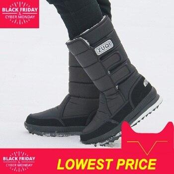 Мужские ботинки, зимние туфли на платформе для мужчин, толстая плюшевая непромокаемая Нескользящая зимняя обувь, большие размеры 36-47, зима ...