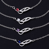 Summer Style Fashion 925 Silver Ankle Bracelet Foot Jewelry 4 Colors Crystal Rose Charms Anklets Body Leg Chain For Women