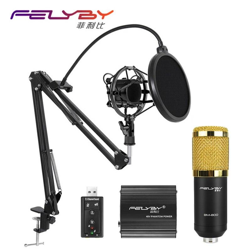 ¡Caliente! FELYBY BM 800 micrófono de condensador profesional para computadora Audio estudio Vocal Rrecording Mic Phantom Power tarjeta de sonido