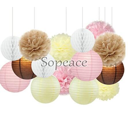 Sopeace 39 Pcs Tissue Paper Pom Poms Flowers Tissue Tassel Garland Polka Dot Paper Garland Kit for Wedding Party Decorations