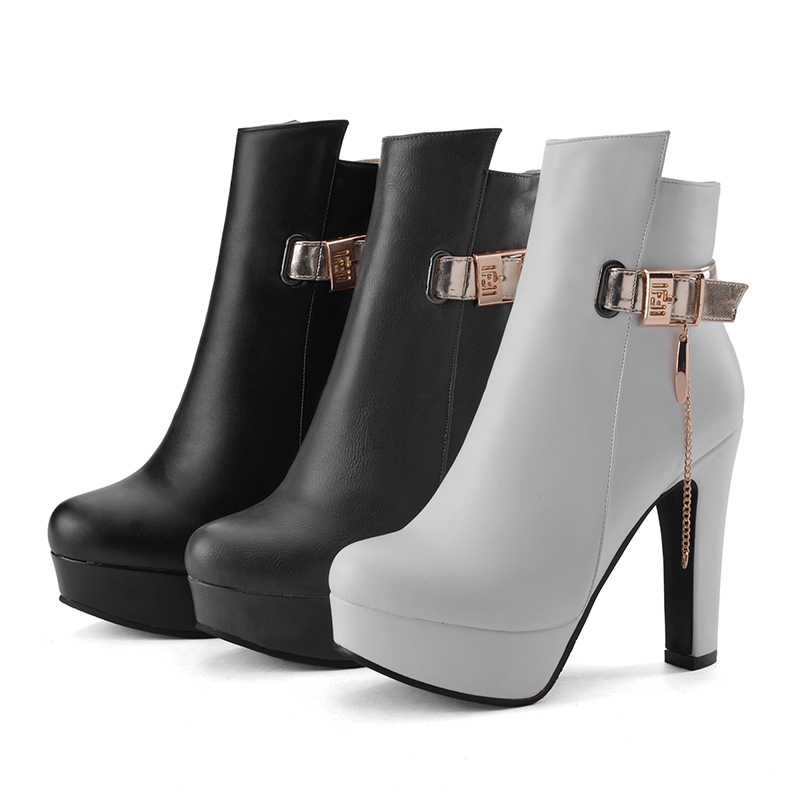 WETKISS 2018 Kalın Yüksek Topuklu Ayak Bileği Kadın Çizmeler Yuvarlak Ayak Ayakkabı Metal Dekorasyon Yeni Pu kadın ayakkabısı Sonbahar Platformu Çizme