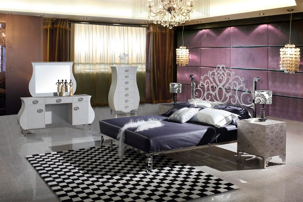 Modern Stainless Steel Bed / Soft Bed/double Bed King Size Bedroom Bed+ 2  Night Stands+ Dress Table+ Mirror+ 7 Drawers Cabinet