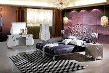 Современные нержавеющей стали кровать/мягкая кровать/двуспальная кровать king size кровать + 2 тумбочки + платье Таблица + зеркало + 7-ящики шкафа