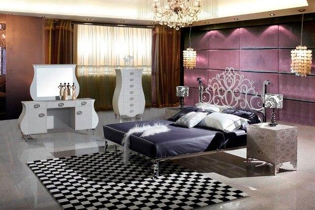 Moderno letto in acciaio inox/morbido letto/letto matrimoniale king ...