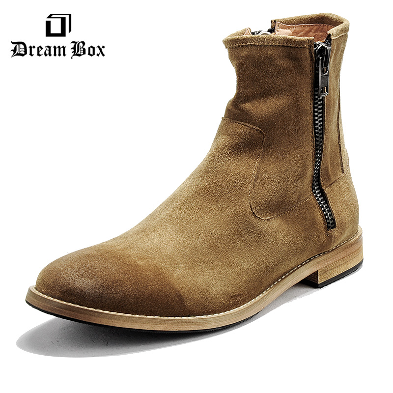 Dreambox2017 winter and Europe retro old leather side zipper men's medium cylinder boots Chelsea boots dreambox 800 hd крайот