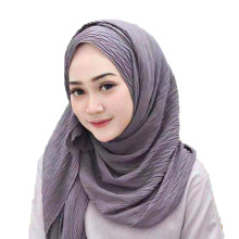 Summer Chiffon Fold Scarf Fashion Leaf Crushed Monochrome Silk Hijab Turban Muslim Headscarf