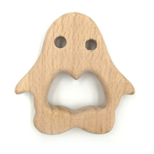 Baby Teething Toy Wooden penguin Teething Toys New Born Gift wooden Rattle Natural font b Organic