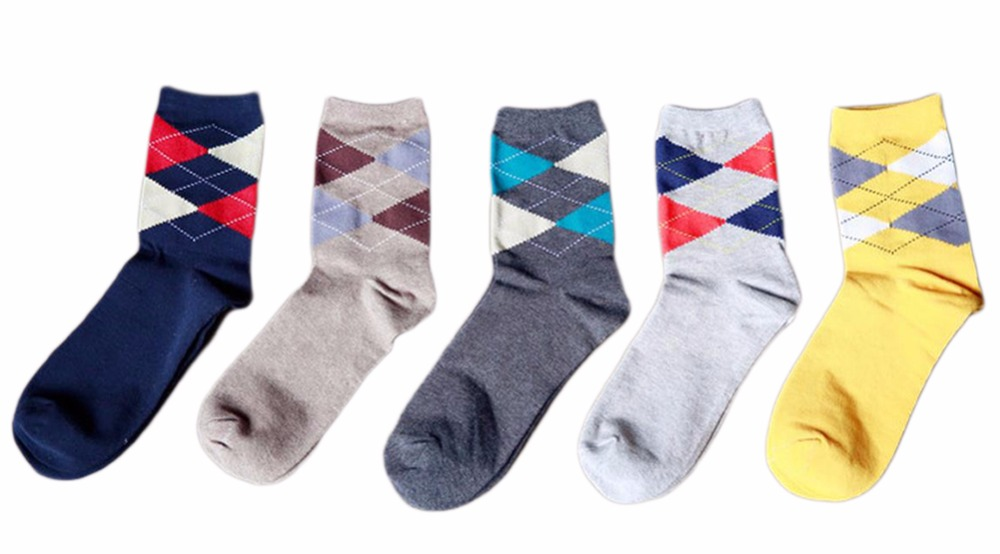 OnnPnnQ 5 Pairs/lot Mens Plaid Formal Dress Colorful Socks Mid Calf Combed Cotton US 6-11 Summer Men Work Socs Business
